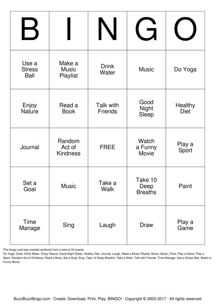 Stress Management Bingo  Bingo Card