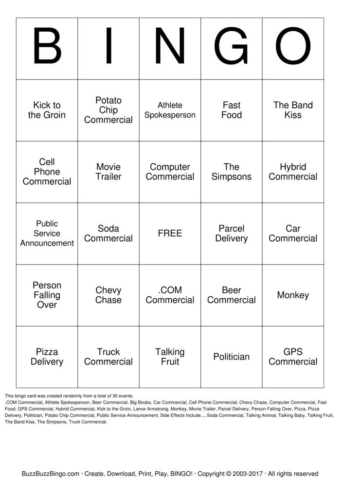 Download Superbowl Commercials Bingo Cards