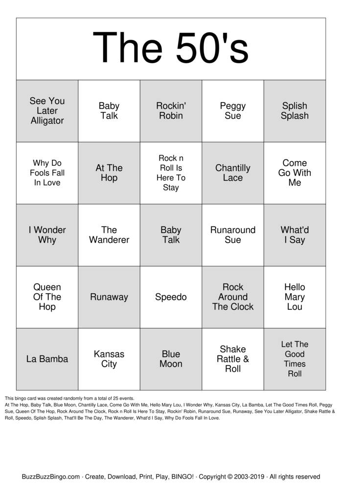 Download Free The 50's Bingo Cards