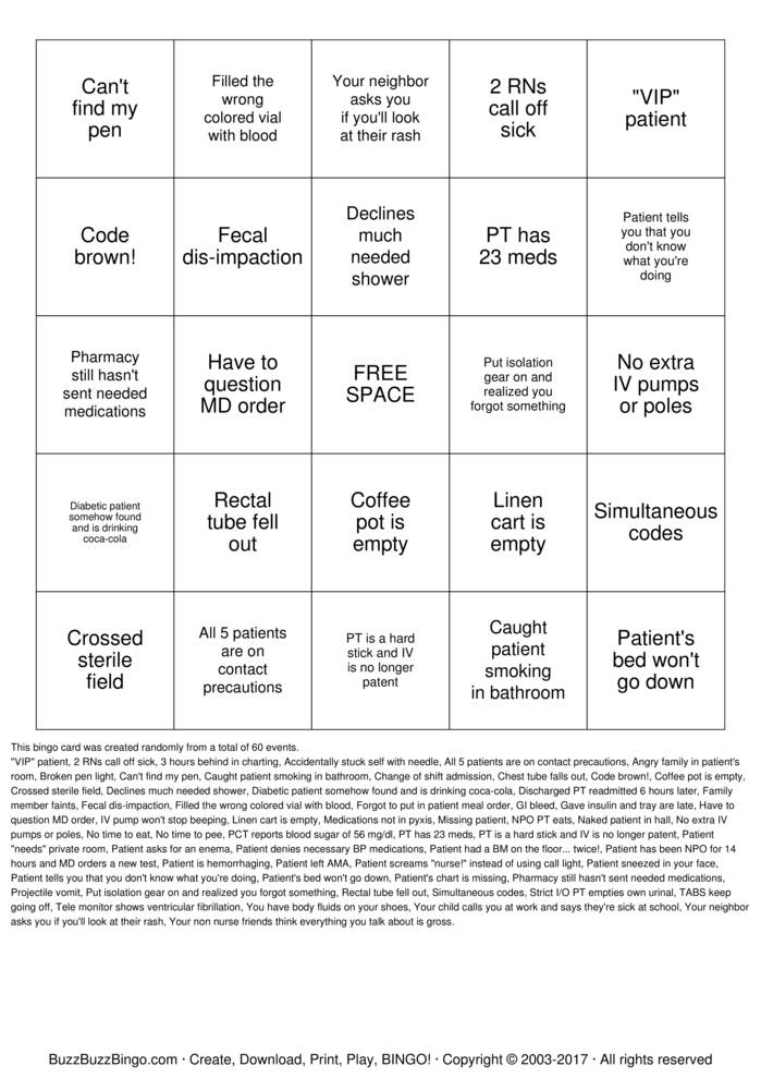 Download What's so Funny About Nursing  Bingo Cards