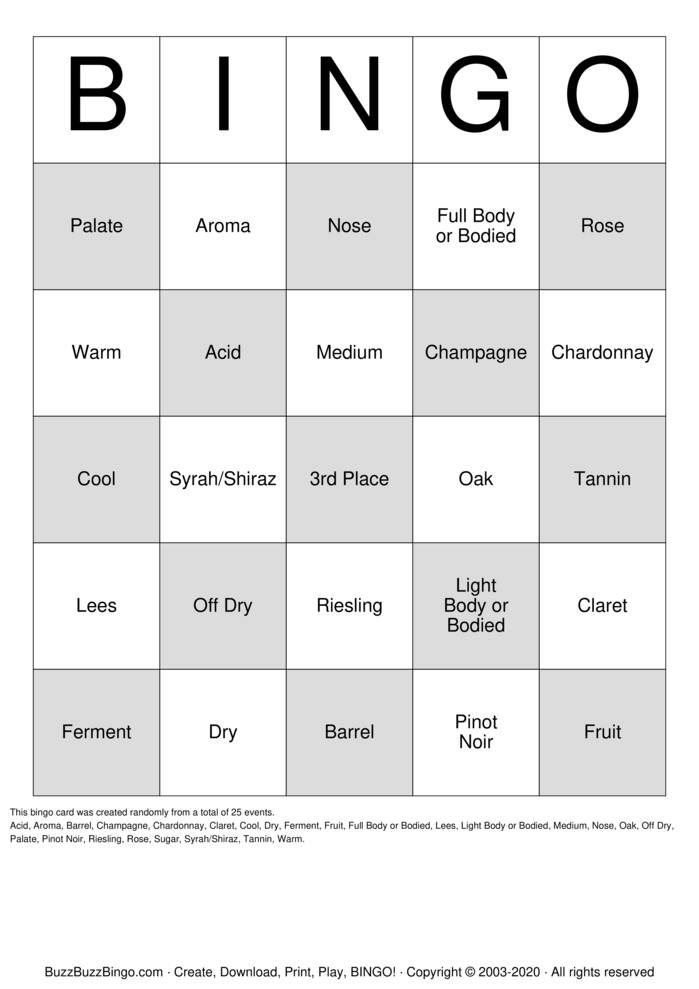 Download Free 3rd Place Beaujolais Party 2020 Bingo Cards