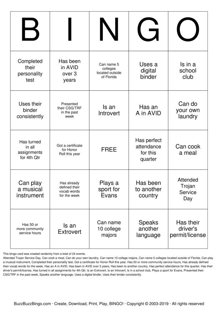 Download AVID Bingo Bingo Cards