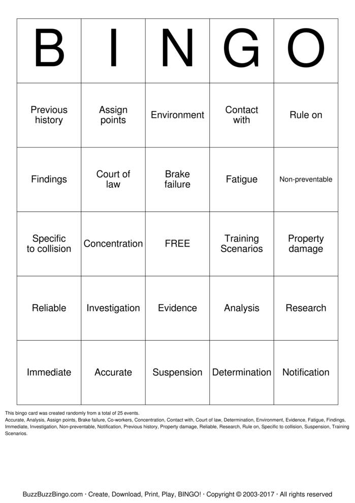 Accident Law Bingo Card
