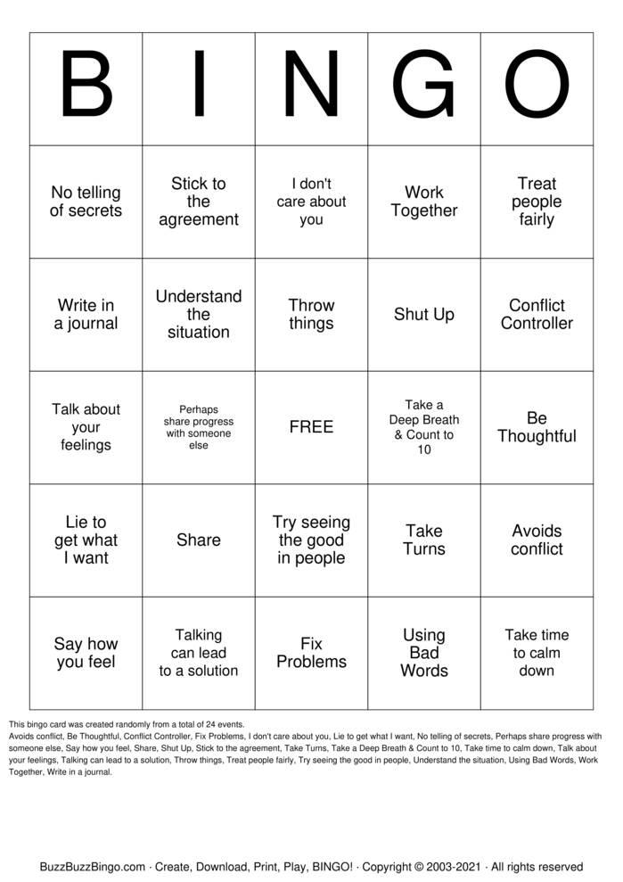 Download Free Conflict Resolution Bingo Cards