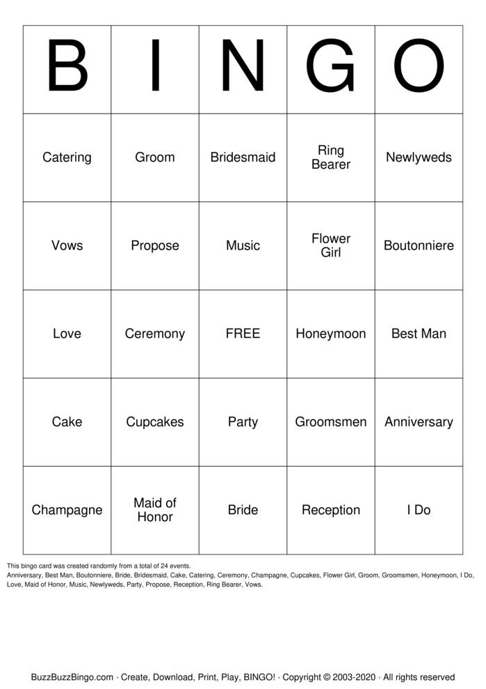 Download Free ENGAGEMENT PARTY Bingo Cards