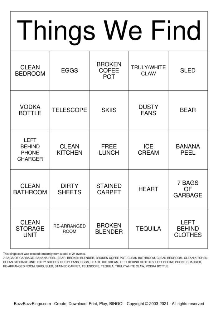 Download Free NORTH LAKE TAHOE  Bingo Cards