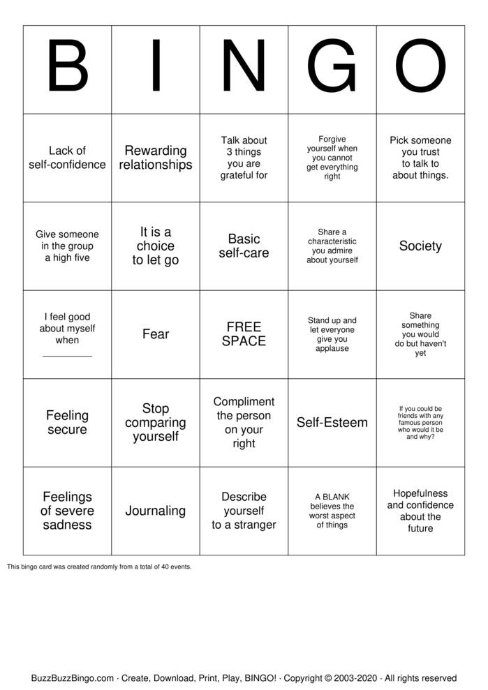 Download Free Self-Esteem  Bingo Cards