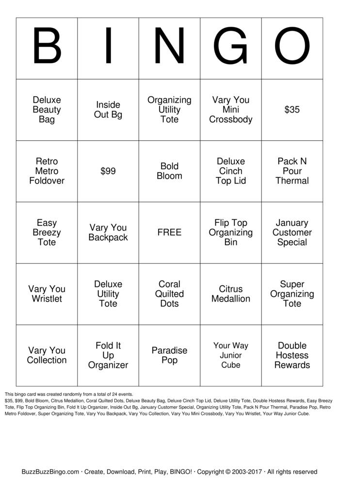 Thirty One Spring 2014 Bingo Cards To Download Print And