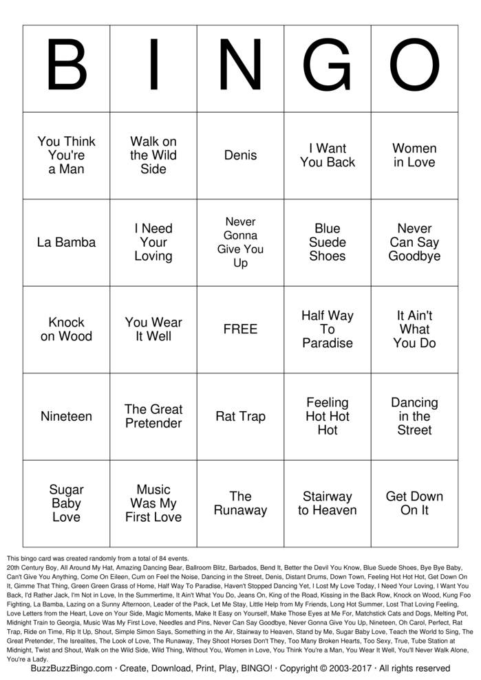 Tipsy Tea Party Bingo Card