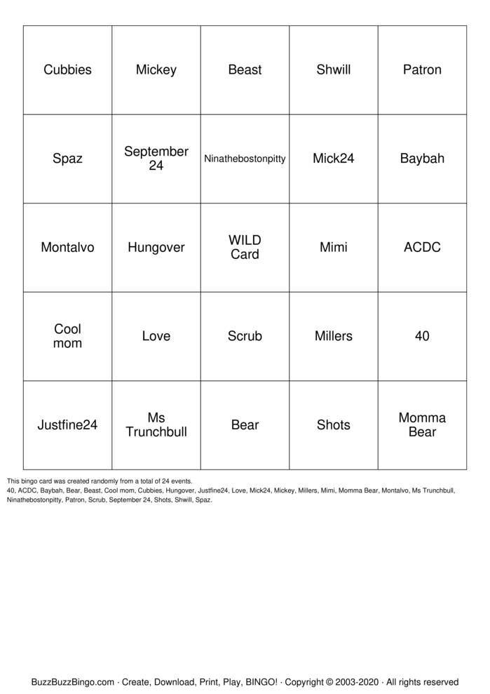 Download Free 40th Birthday Bingo Cards