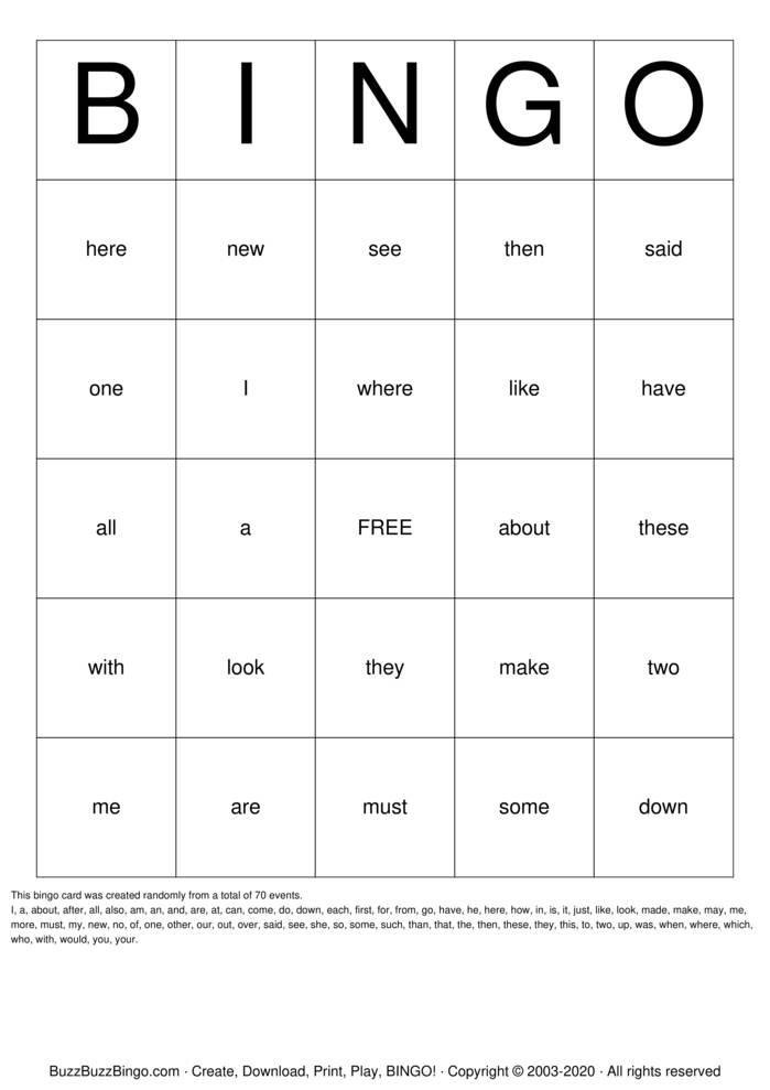 Download Free Camdenton Sight Words-K-1 Bingo Cards