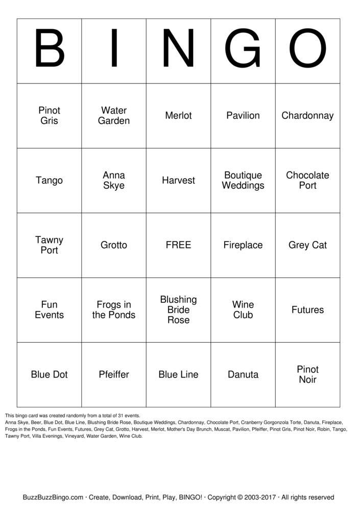 Download Free PINOT  Bingo Cards