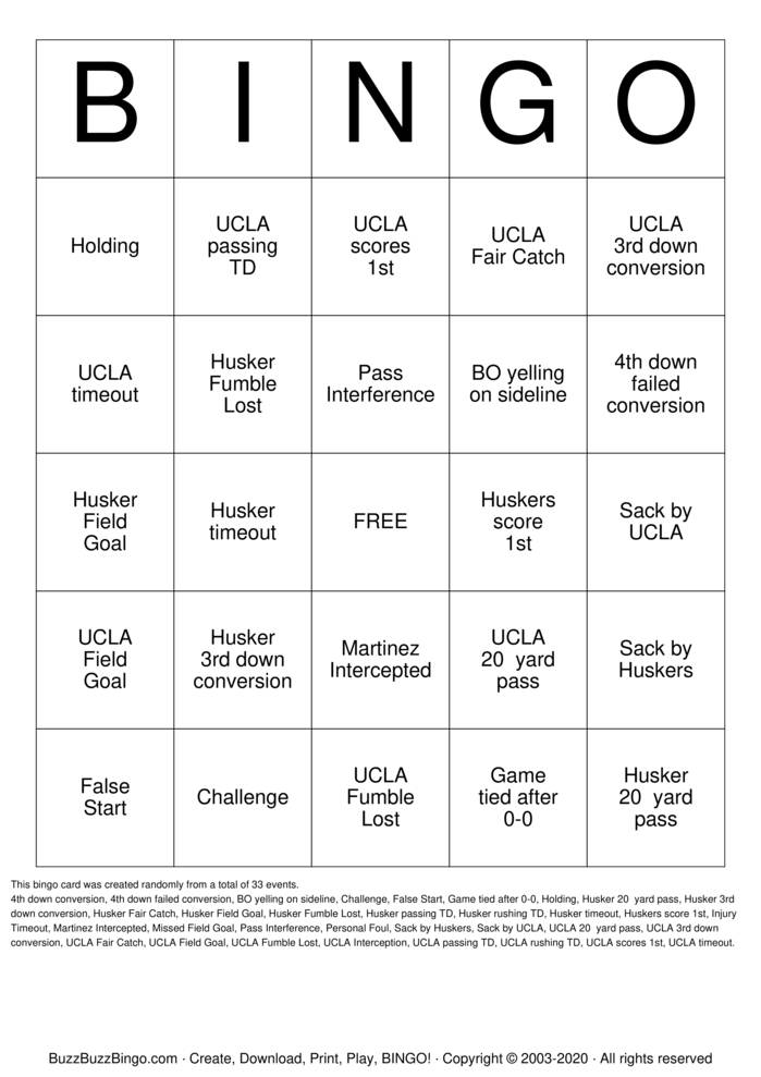 Download Free ucla Bingo Cards