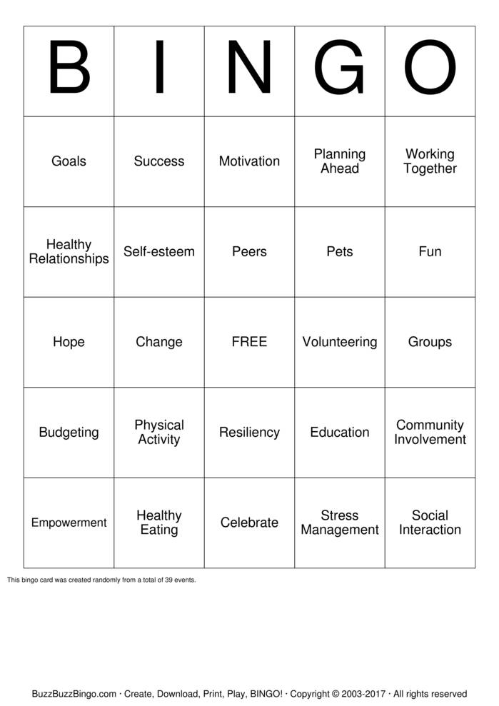 Download Free wellness Bingo Cards