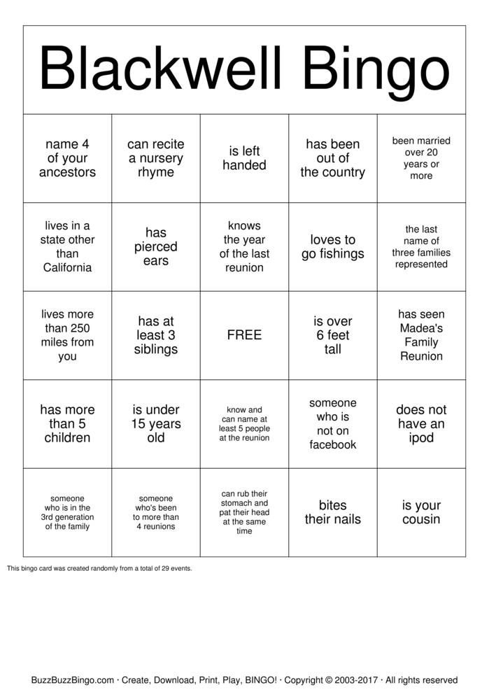 Download Free Blackwell Family Reunion Bingo Cards