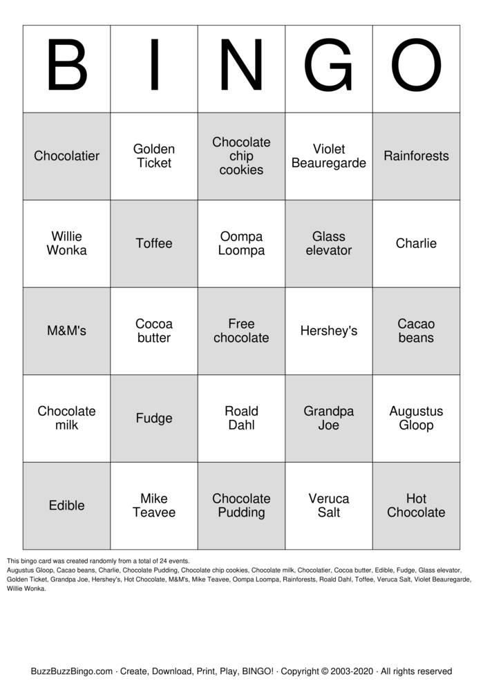 Download Free Chocolate Bingo Cards