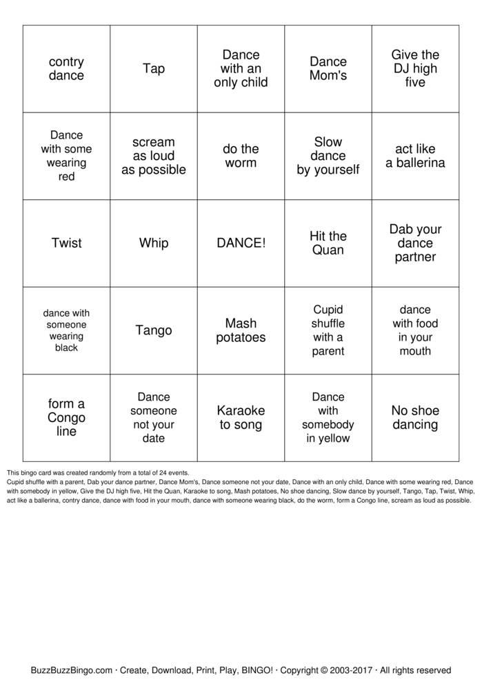 Download Free DANCE Bingo Cards