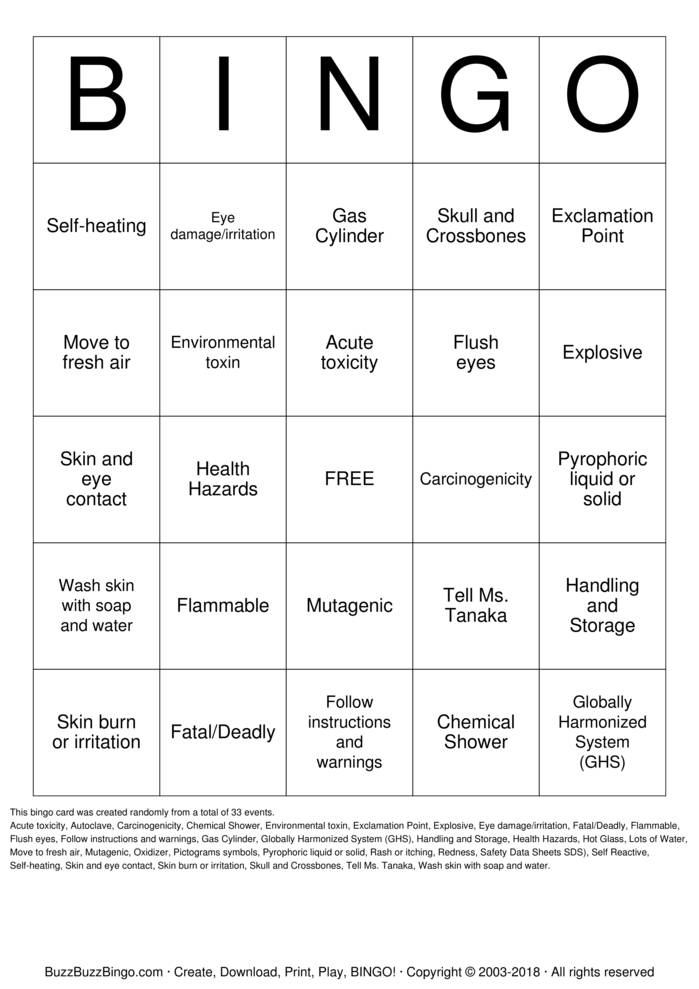 Download Free Lab Safety Bingo Cards