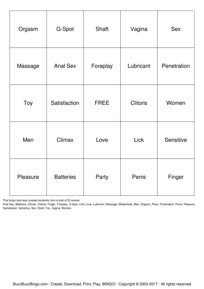 Pleasure Bingo Bingo Card