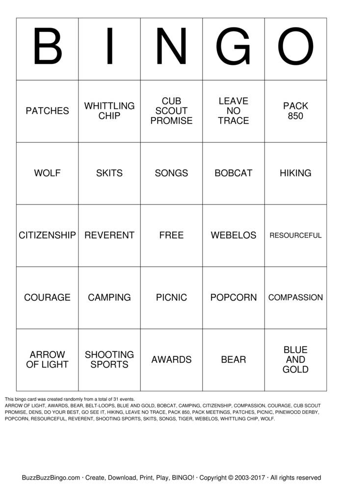 Download SCOUT Bingo Cards