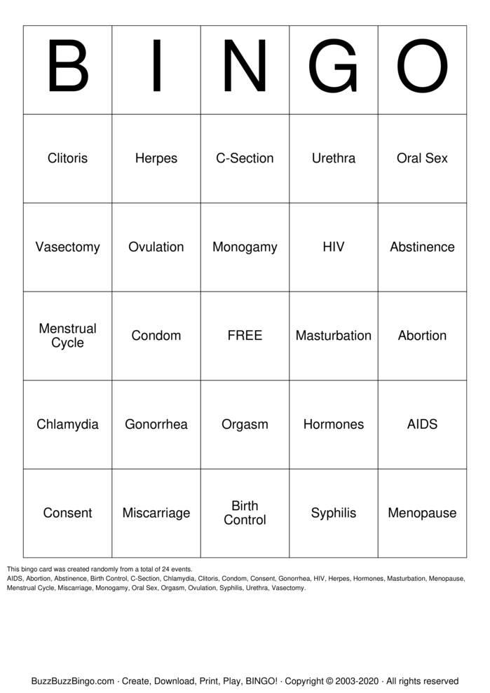 Download Free Sex Education Bingo Cards