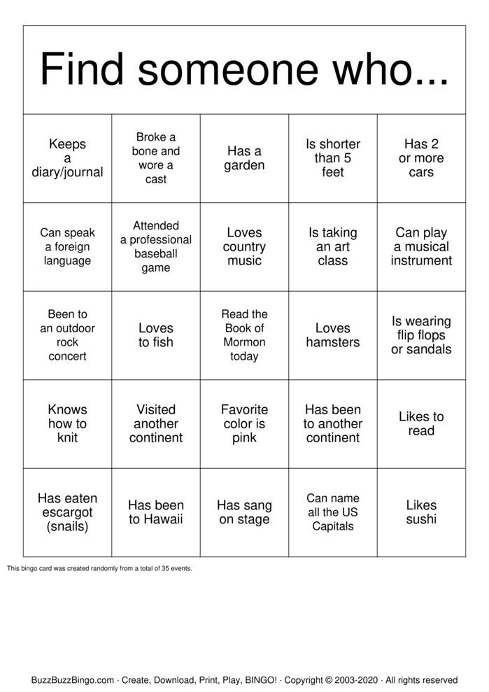 Download Free Your Name:  Bingo Cards