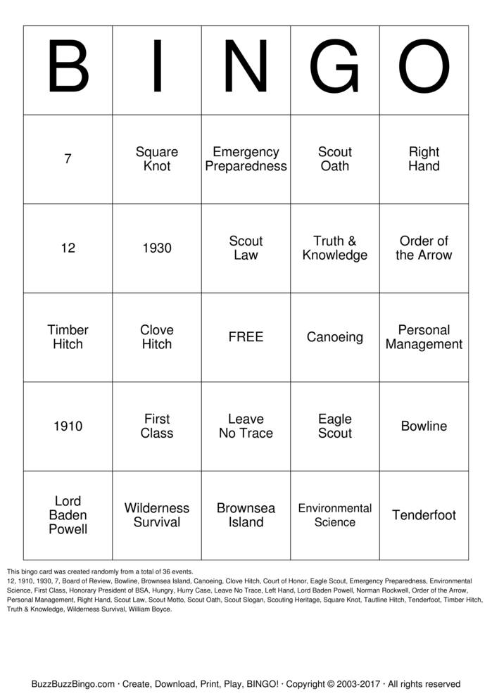 Boy Scouts of America Bingo Card