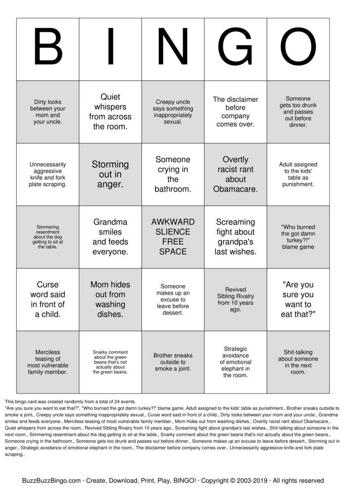 Download DYSFUNCTIONAL FAMILY Bingo Cards