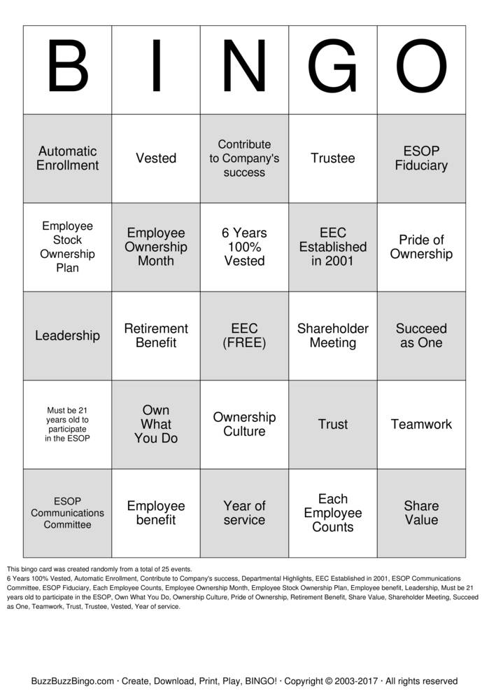 Download ESOP Bingo Bingo Cards