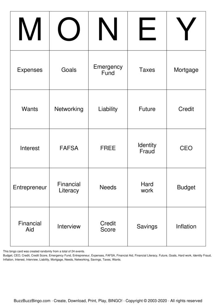 Download Free Financial Literacy Bingo Cards