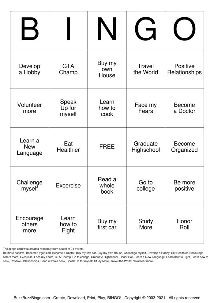 Download Free Goal Setting Bingo Cards