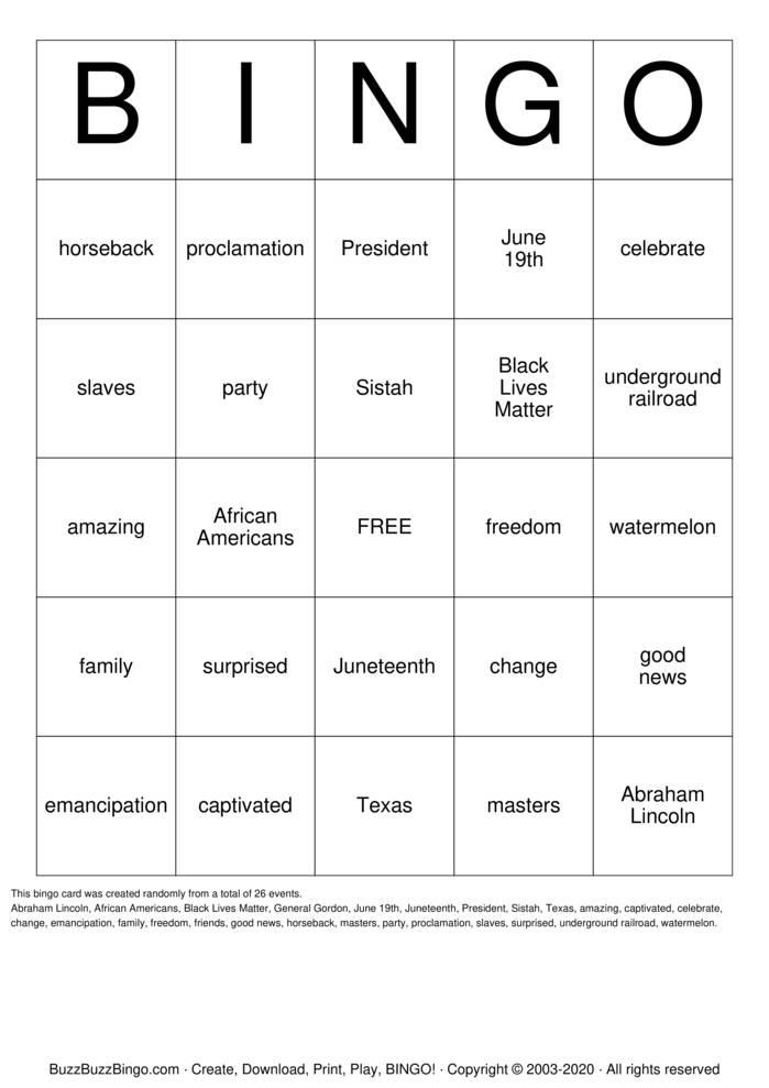 Download Free Juneteenth Bingo Cards