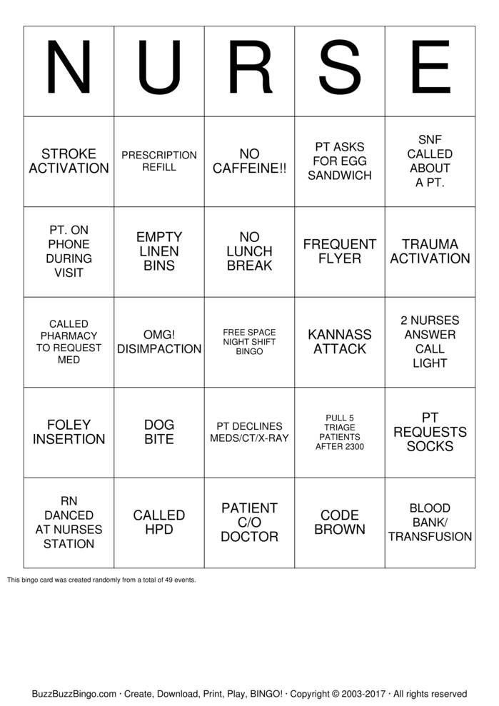 Download Free Nurse  Bingo Cards
