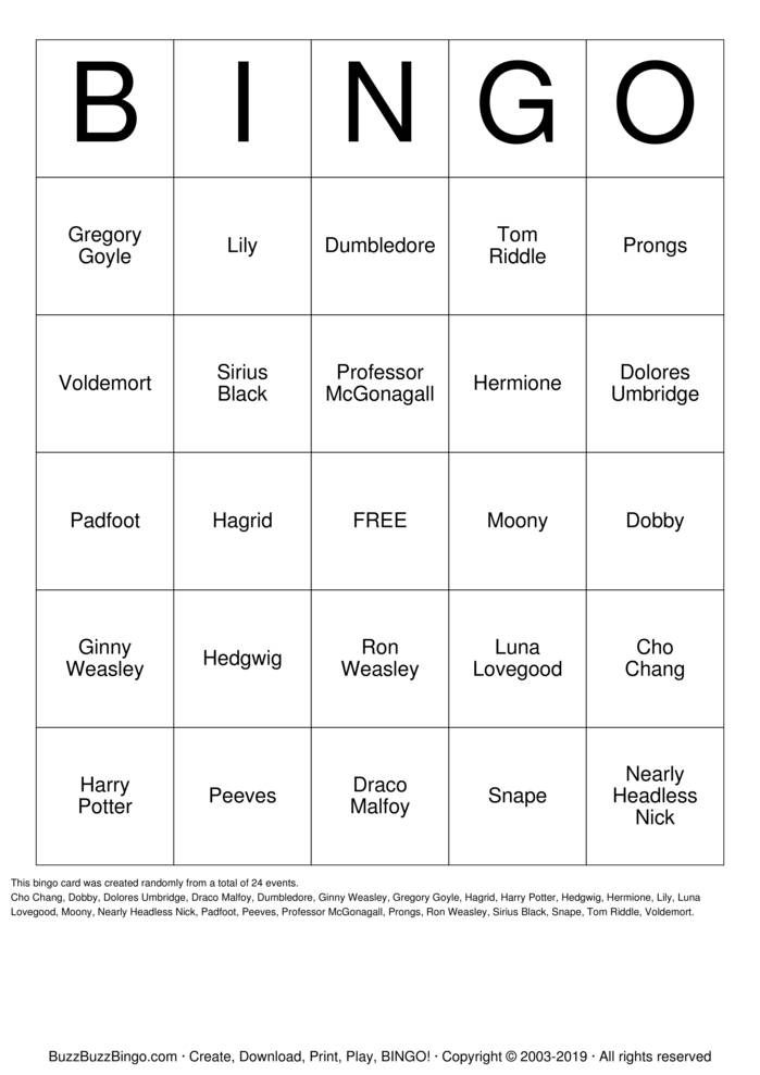 Download harry potter Bingo Cards