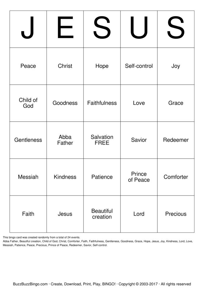 Download Free jesus Bingo Cards