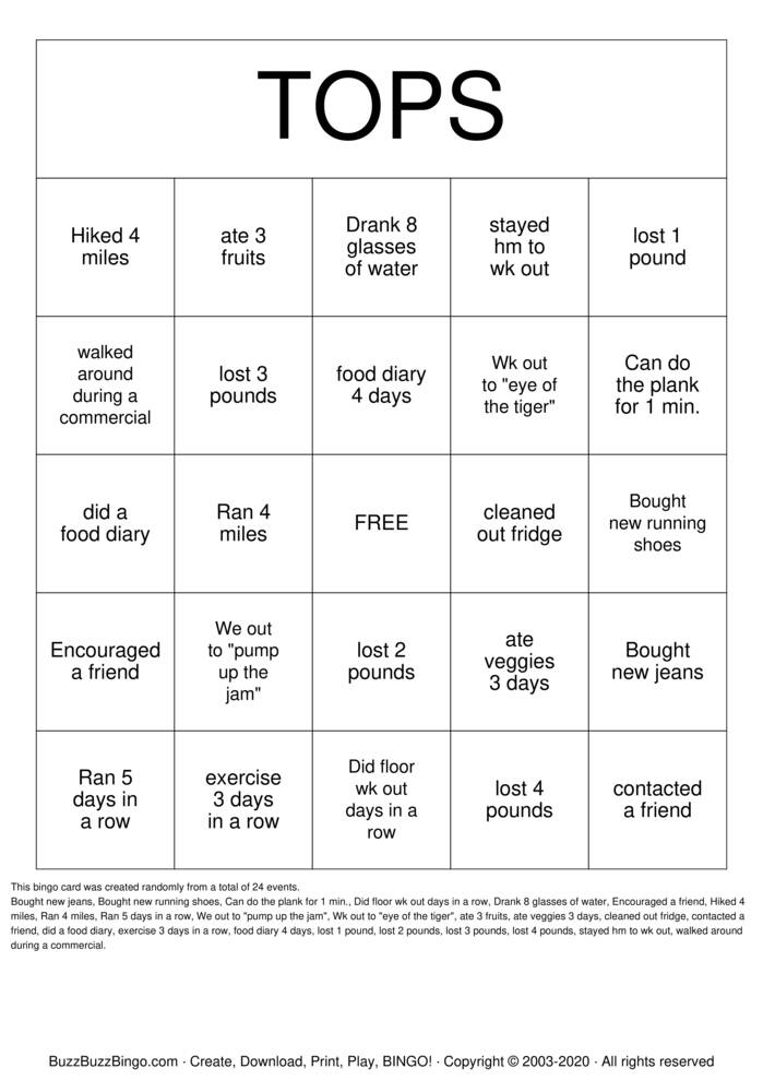 Download Free  weight loss Bingo Cards