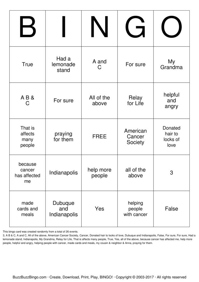 Download Free Ana Chandlee Bingo Cards
