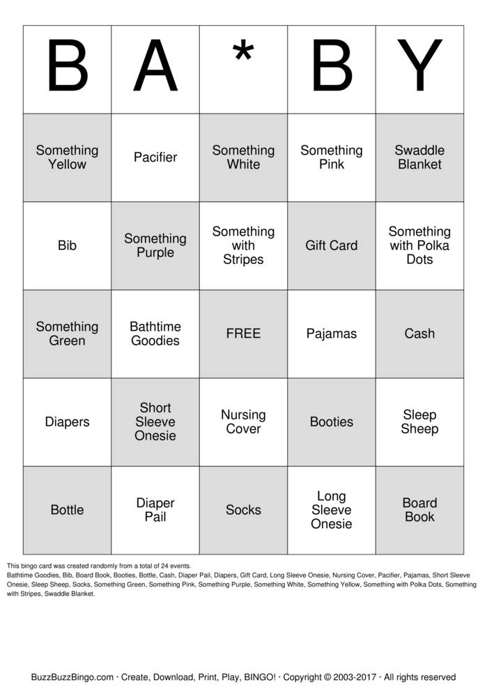 Download Free Baby Gift Bingo Cards