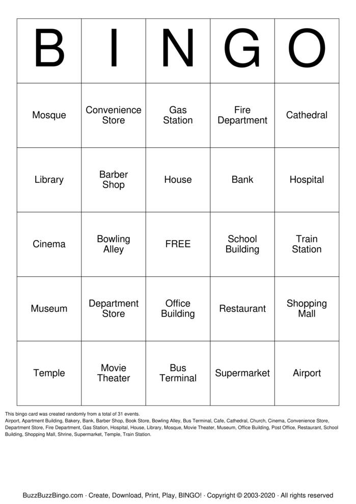 City Buildings Bingo Card