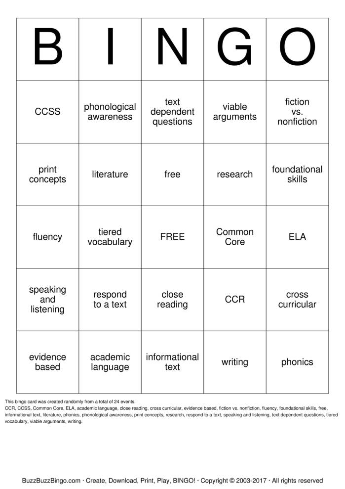 Download Free Common Core State Standards Bingo Cards