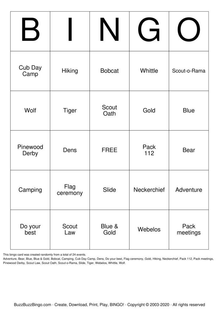 Download Free Cub Scouts of America Bingo Cards
