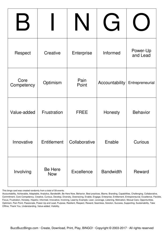 Culture Words Business Bingo Card