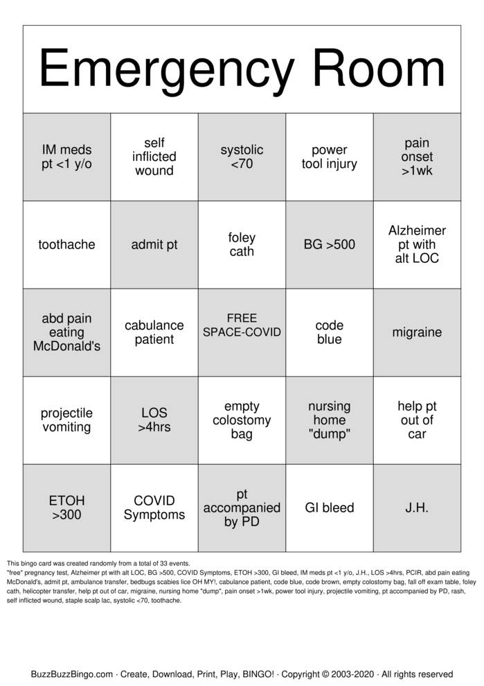 Emergency Room Bingo Card