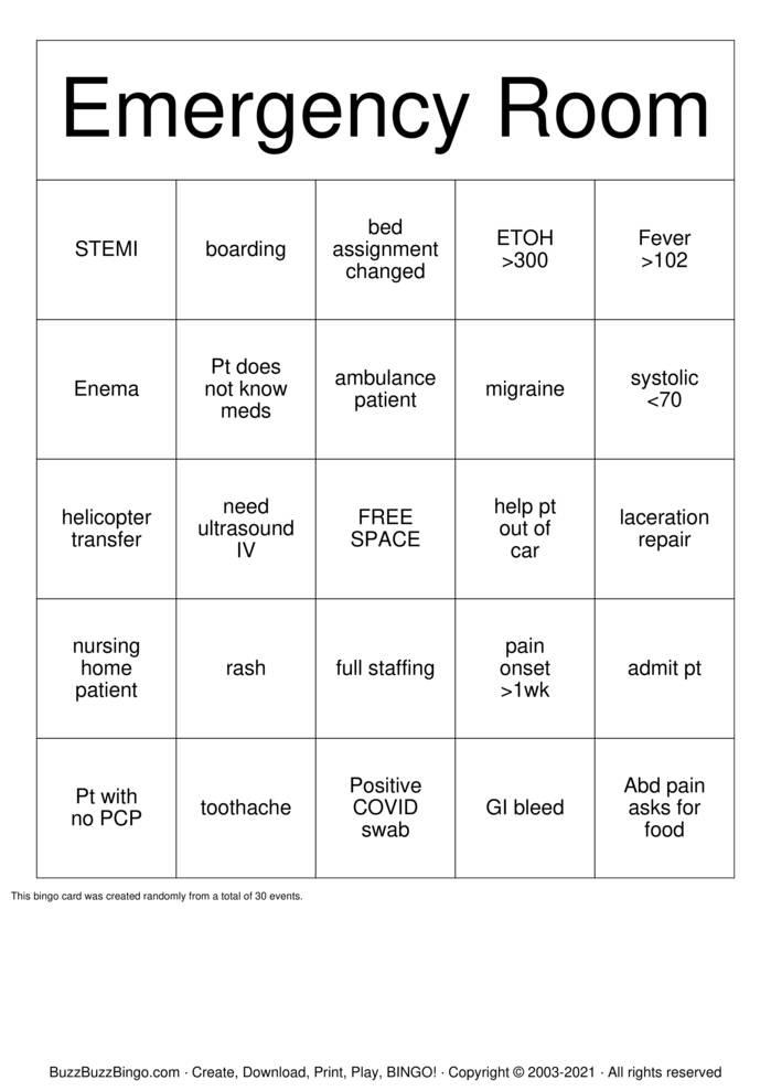 Download Free Emergency Room Bingo Cards