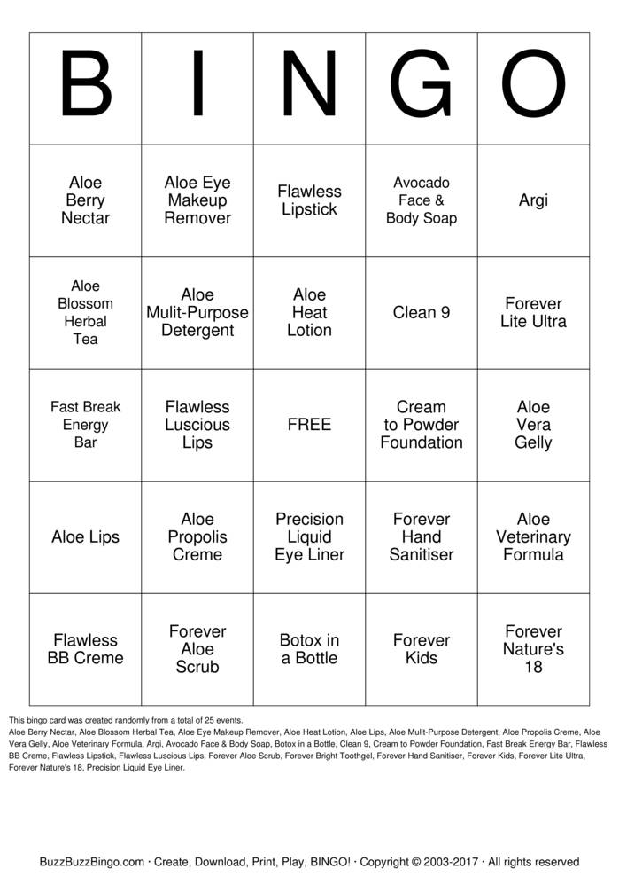 Forever Living Products Bingo Card