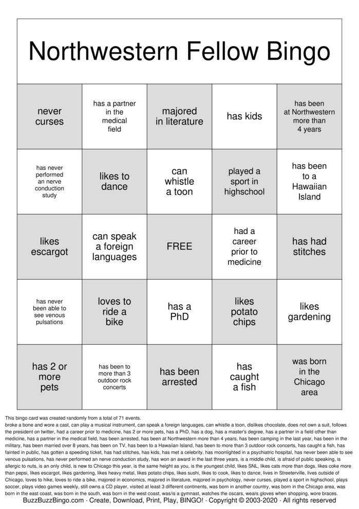 Getting to Know You! Bingo Card
