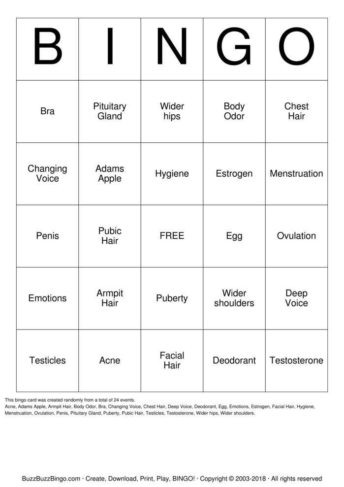 Download Free It's Puberty ! Bingo Cards