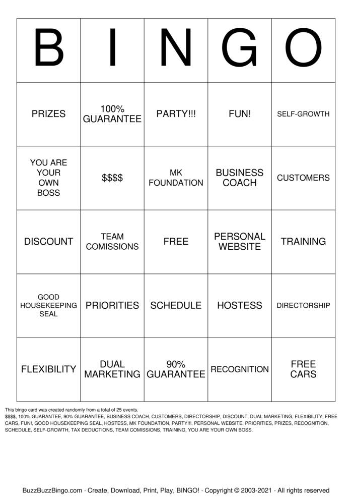 Download Free MARY KAY PARTY Bingo Cards