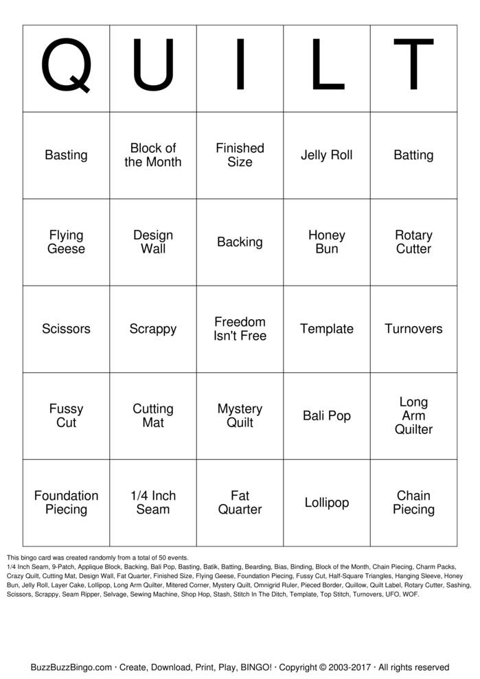 Download Free QUILT Bingo Cards