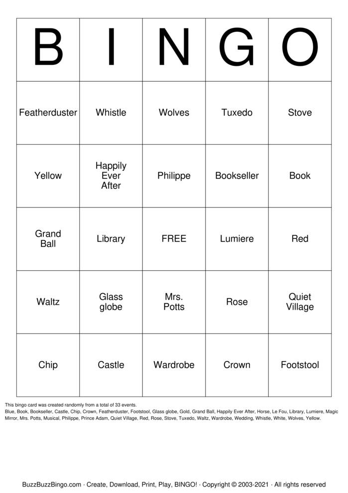 Download Free Beauty and the Beast Bingo Cards